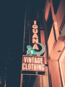 Iguana Vintage Clothing signage